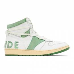 Rhude SSENSE Exclusive White and Green Rhecess Hi Sneakers RHU08PF20137