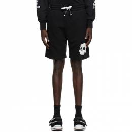 Palm Angels Black French Terry Skull Shorts PMCB016F20FAB0021001