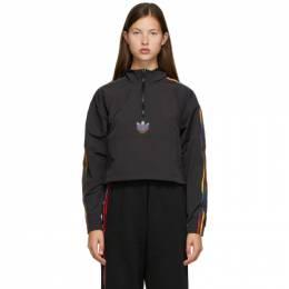 Adidas Originals Black Cropped Half-Zip Adicolor Jacket GD2262