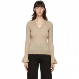 J.W. Anderson Beige Flared Cuff V-Neck Sweater KW0404-YN0049