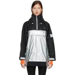 Adidas by Stella McCartney Silver and Black Stella McCartney Collection Pull-On Jacket FU0272