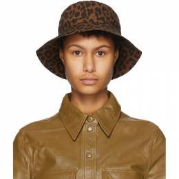 Ganni Black and Brown Leopard Bucket Hat A2941