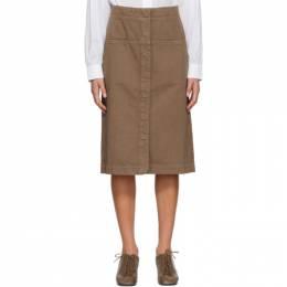 Lemaire Brown Denim Straight Skirt W 204 SK257 LD034