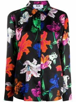 MSGM рубашка с цветочным принтом и длинными рукавами 2942MDE128207856