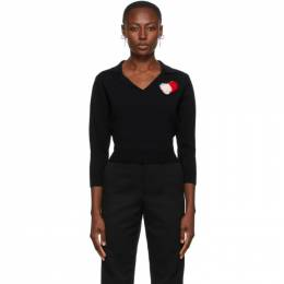 Shushu/Tong Black V-Neck Sweater aw20to16-bk