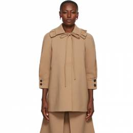 Shushu/Tong Brown Ruffle Collar Coat aw20co05