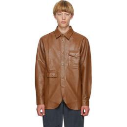 Han Kjobenhavn Brown Faux-Leather Army Shirt M-130219