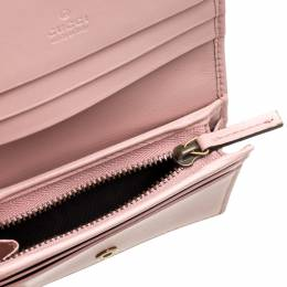 Gucci Pink Matelasse Leather GG Marmont Card Case 333935