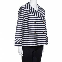 Ch Carolina Herrera Navy Blue and White Striped Double Breasted Jacket M 330052