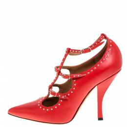 Givenchy Red Leather Studded Buckle Ankle Wrap Pumps Size 38 333837