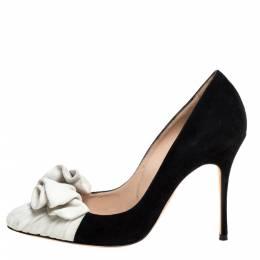 Manolo Blahnik White/Black Suede Leather Arleti Pumps Size 37.5 334049