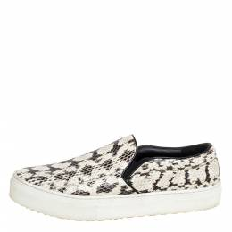 Celine White/Brown Python Leather Slip On Sneakers Size 39 334043
