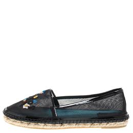 Dior Black Mesh Riviera Embroidered Espadrille Flats Size 39 329852