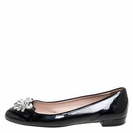 Miu Miu Black Patent Leather Crystal Embellished Ballet Flats Size 38.5 334046