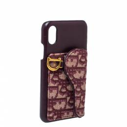 Dior Burgundy Oblique Canvas and Leather iPhone XS Case 333988