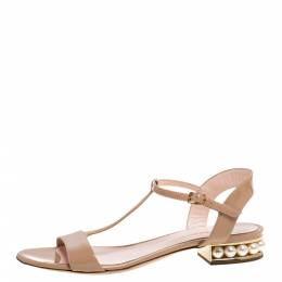 Nicholas Kirkwood Beige Patent Leather Casati Faux Pearl Embellished T Strap Sandals Size 38 331623