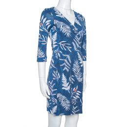 Diane Von Furstenberg Blue Printed Knit New Julian Two Wrap Dress S 330662