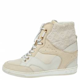 Louis Vuitton Off White Monogram Suede and Leather Cliff Top Sneakers Size 39 333737