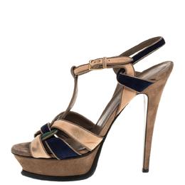 Yves Saint Laurent Tricolor Suede Tribute Platform Sandals Size 39 333928