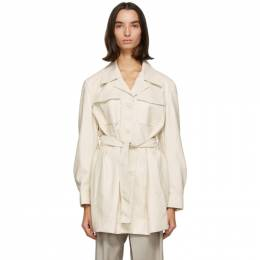 Low Classic Off-White Faux-Leather Belted Coat LOW20FW_SH05IV