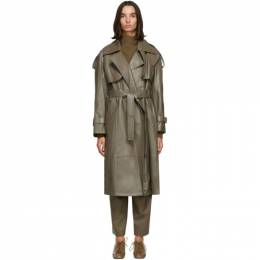Low Classic Khaki Faux-Leather Trench Coat LOW20FW_CT16KH