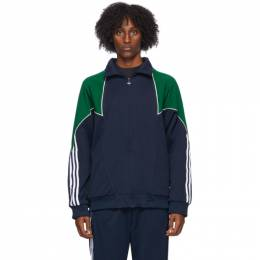 Adidas Originals Navy and Green Trefoil Abstract Jacket GE6235