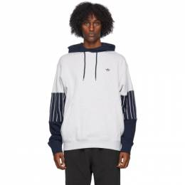 Adidas Originals Grey and Blue Baseball Hoodie GD2062