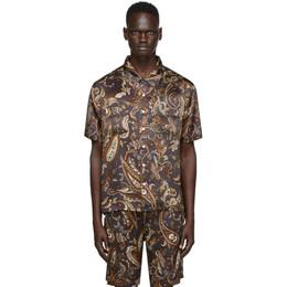 Nahmias Brown Silk Paisley Campus Short Sleeve Shirt AW20-CPS-SS-CP