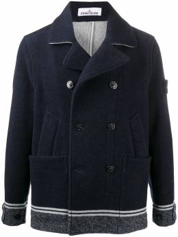 Stone Island double breasted coat with striped hem MO731541852