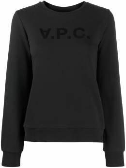 A.P.C. Viva flocked-logo cotton sweatshirt COECQF27644