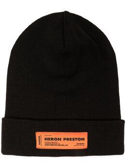 Heron Preston ribbed-knit logo patch beanie HMLC004F20KNI0016400