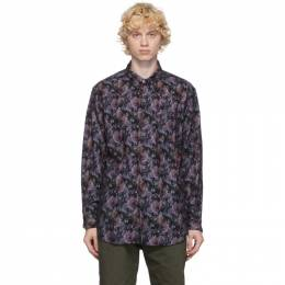 Engineered Garments Black and Purple Flannel Floral Shirt 20F1A002