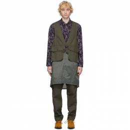 Engineered Garments Khaki Long Fowl Vest 20F1C008