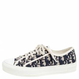 Dior Navy Blue Embroidered Cotton Oblique Motif Walk'n'Dior Low Top Sneakers Size 38 334245