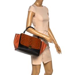 Celine Black/Orange Leather and Python Medium Trapeze Bag 333558