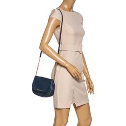 Michael Kors Blue Leather Flap Crossbody Bag 331941