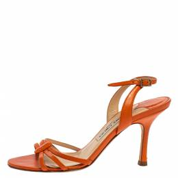 Jimmy Choo Orange Leather Strappy Slingback Sandals Size 36.5 334207