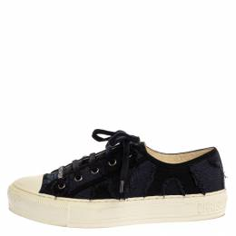 Dior Deep Blue Camo Canvas Walk'n'Dior Low-Top Sneakers Size 38 334091