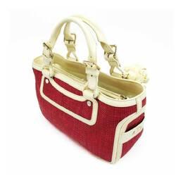 Celine Red/Ivory Straw Leather Satchel Bag 332525