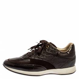 Louis Vuitton Brown Leather And Suede Monogram Sneakers Size 39 334283