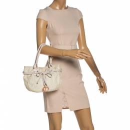 Dior Vanilla Oblique Nylon and Leather Bow Charm Shoulder Bag 328406