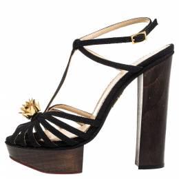 Charlotte Olympia Black Canvas Strappy Ankle Strap Platform Sandals Size 39 329713