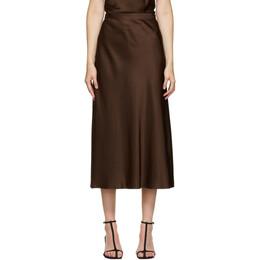 Rosetta Getty Brown Satin Bias Skirt 1320361446