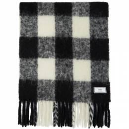 Ami Alexandre Mattiussi White and Black Mohair Checkered Scarf H20A401.330