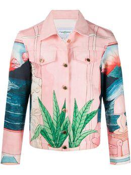 Casablanca джинсовая куртка с принтом WS20JK003