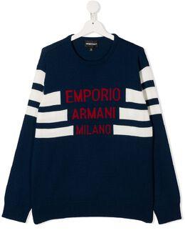 Emporio Armani Kids джемпер в полоску с отделкой в рубчик 6H4MXK1MHQZ
