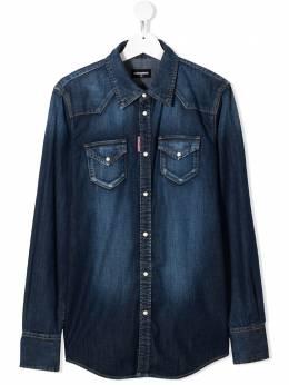 Dsquared2 Kids джинсовая рубашка с эффектом потертости DQ02DGTDQ001Q