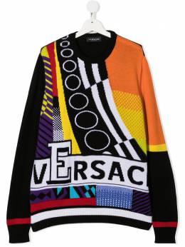 Young Versace джемпер в стиле колор-блок с логотипом YD000272A236528