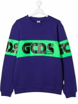 GCDS Kids худи в стиле колор-блок с логотипом 025763