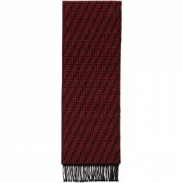 Fendi Black and Red Wool Forever Fendi Scarf FXS366 A4Z4